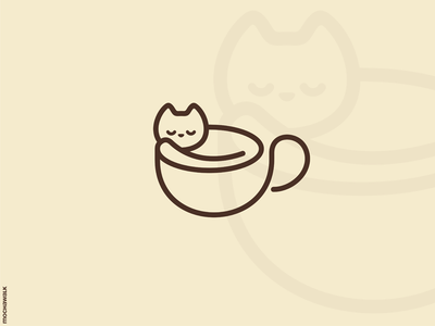 Coffee Cat Logo minimalist animal logomark logodesign logo lineart playful adorable coffee cup cat
