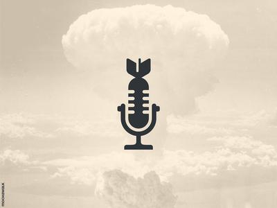 Voice Bomb minimalist icon design logomark logodesign logo bomb talk voice podcast microphone