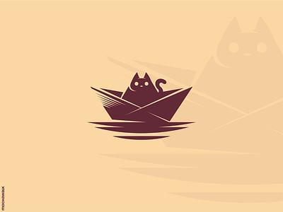 The Sailing Cat character mascot playful logomark logodesign logo adventure sailing paperboat animal pet cat