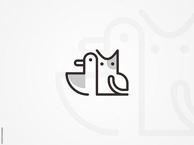 Cat and Duck minimalist monoline lineart playful design logomark logodesign logo animal bird duck cat