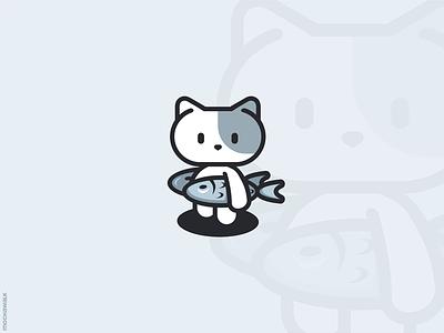 Cute Cat and Fish adorable playful mascot characterdesign illustration design logodesign logo animal pet fish kitten cat