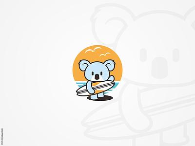 Surfing Koala playful adorable illustration character logodesign logo characterdesign mascot surfing surf animal koala bear koala