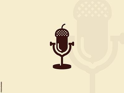 Acorn Podcast design logomark logodesign logo speech talk podcast microphone mic acorn
