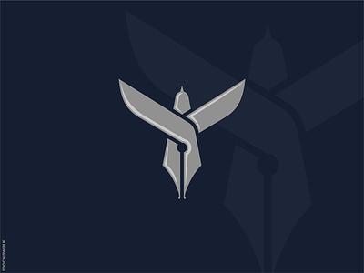 Bird Writer icon animal design logomark logodesign logo author writer nib pen bird