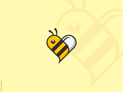 Love Bee illustration adorable mascot playful animal design logodesign logo love heart honeybee honey bee