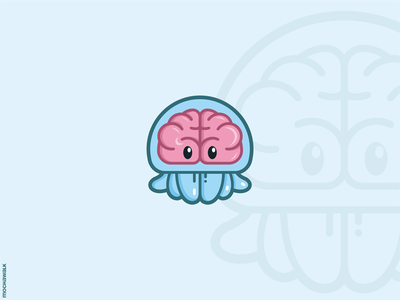 Genius Jellyfish character adorable playful illustration logodesign logo characterdesign mascot ocean sea animal jellyfish genius brain