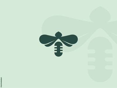 Bee Podcast unique icon design animal logomark logodesign logo podcast microphone honeybee bee
