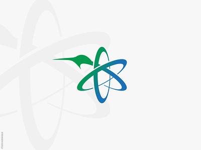 Atom Hummingbird Logo modern icon logomark logodesign logo research science atomic atom animal bird hummingbird