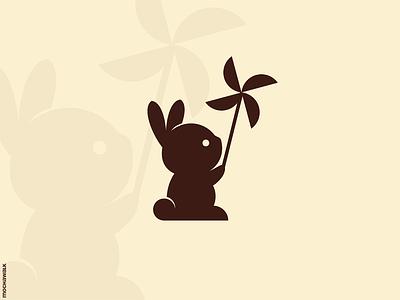 Bunny and Wind character playful mascot illustration animal logomark logodesign logo windmill wind rabbit bunny