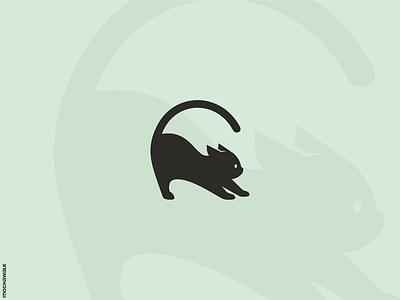 Black Cat icon playful design logomark logodesign logo animal pet kitten cat