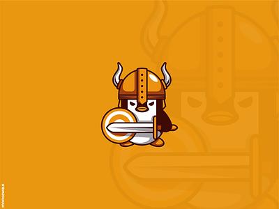 Viking Penguin character playful illustration animal logodesign logo character design mascot warrior viking penguin