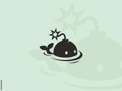 Whale Bomb Logo playful illustration animal design logomark logodesign logo bomb whale