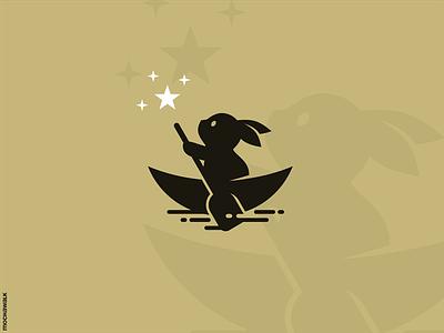 Rabbit Dream playful adorable illustration animal design logomark logodesign logo dream stars boat sailing bunny rabbit