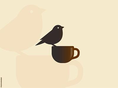Logo of A Cup of Coffee and Bird minimalist icon design logomark logodesign logo animal bird cup coffee