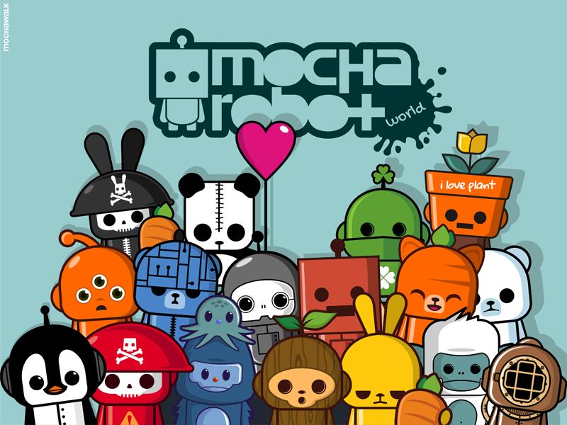 Mocharobot World mocharobot playful graphic illustration kawaii cute charactersdesign