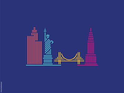 Line Art - USA america usa lineart landmark icon design