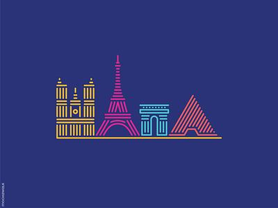 Line Art - France paris france lineart landmark icon design