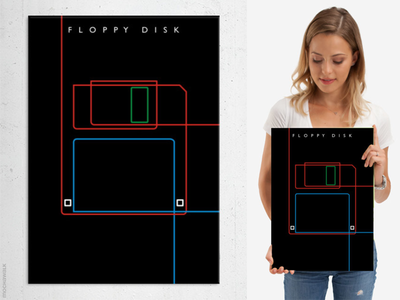 Line Art - Floppy Disk classic computer floppydisk poster wallart design minimalist art lineart