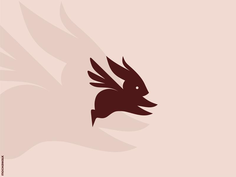 Flying Rabbit design identity logomark logodesign logo animal flying wings bunny rabbit