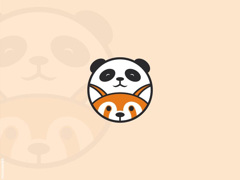 Panda & Red Panda vector character mascot characterdesign illustration design identity logomark logodesign logo circle bear playful cute adorable animal redpanda panda