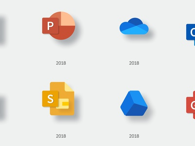 What if Microsoft designed Google's icons? (Free download) drive outlook slides powerpoint sheets docs google microsoft mock up icons design