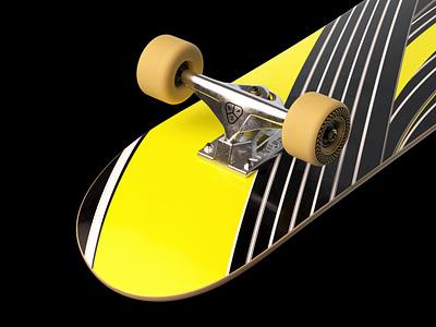 Kinetic - Skateboard Yellow Deck octane truck skate deck branding graphic design skateboard sk8 skate wheel c4d 3d orthonormai