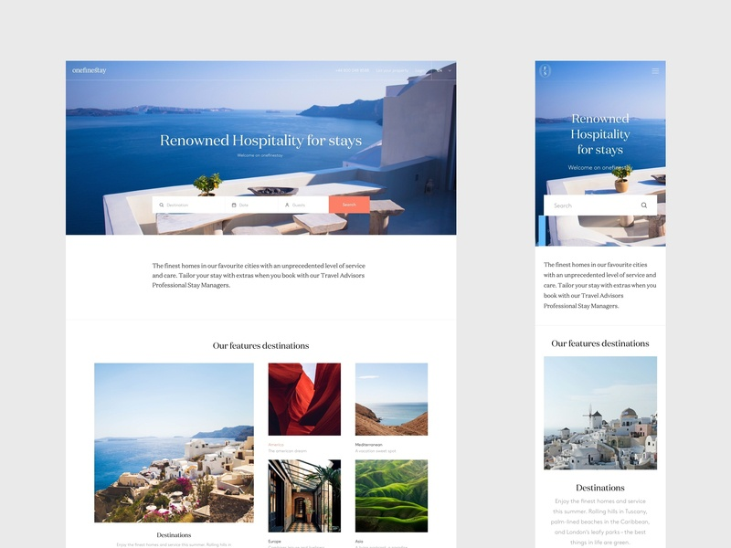 Onefinestay - Home ux responsive flat minimal clean design branding ui interaction