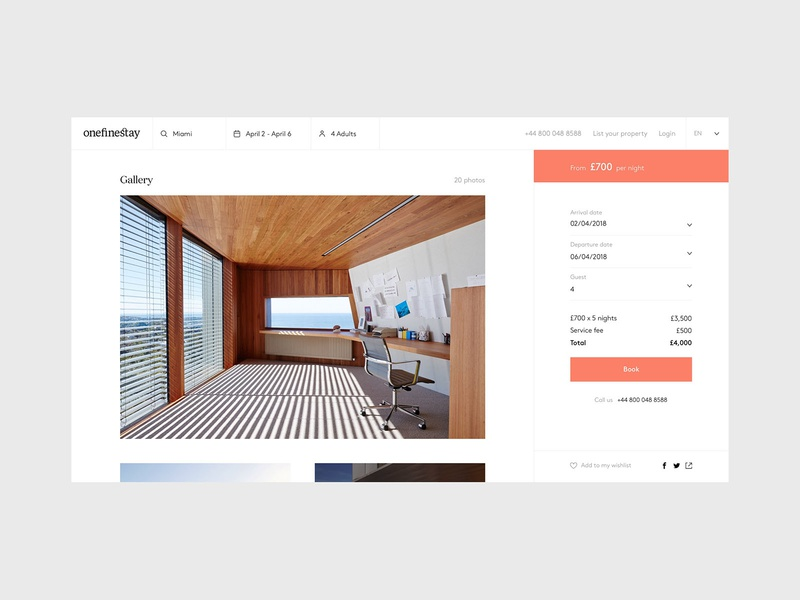 Onefinestay - Property flat design ui airbnb listing page minimal icons property listing house home property