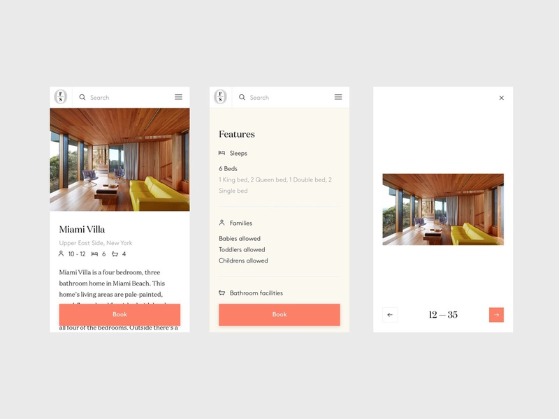 Onefinestay - Property - Mobile ux  ui responsive flat minimal clean design branding