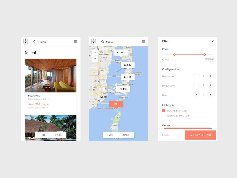 Onefinestay - List - Mobile mac app mobile filters property home house maps design flat ui branding interaction