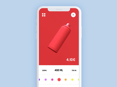 013 Spray can - size selection size design c4d orthonormai octane 3d flat color can ml profile page product ios montana resize spraycan web animation interaction