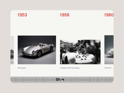 015 Porsche Horizontal Timeline minimalism years date automobile car cars timeline singer porsche web design ui branding animation interaction
