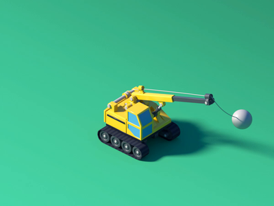 Crane rotation fun low poly isometric lowpoly car construction building crane truck illustration octane animation 3d c4d