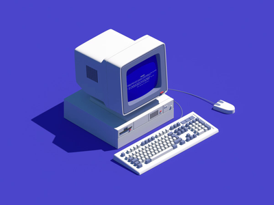 Old pc bsod low poly isometric disc diskette lowpoly loop keyboard mouse computer pc octane animation illustration 3d c4d