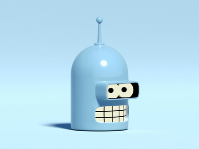 Bender Rodriguez eye tracking isometric shader toon lowpoly loop futurama design octane 3d c4d animation illustration bender