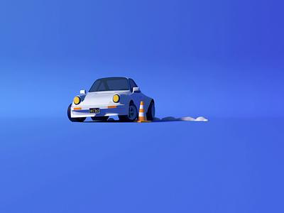 Porsche 911 drift low poly isometric loop illustration lowpoly car drift turbo porsche 911 porsche octane 3d animation c4d