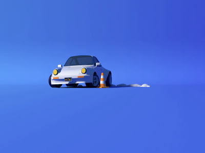 Porsche 911 drift low poly