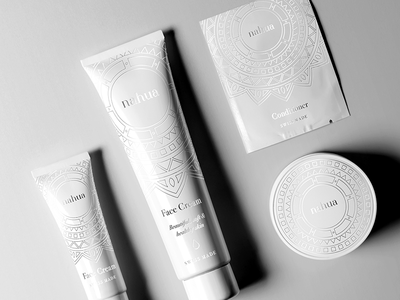 Nahua elegant logo white minimalistic simple aesthetic swiss corporate identity branding cosmetics packaging