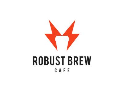 Robust Brew Cafe energy thunder bolt shop coffee cafe concept typography map design branding logo