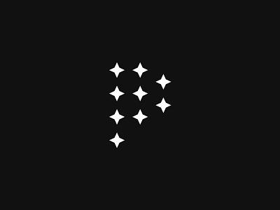 P premium delicate clean elegant sleek simple minimal stars monogram logo