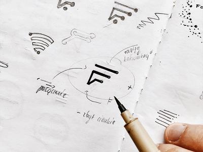 F monogram sketch symbol mark sign monogram corporate identity visual identity identity brand identity branding brand design logo design logos logotype logo