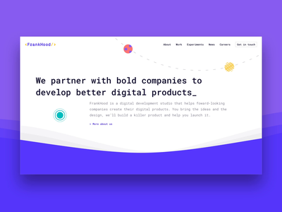Frankhood | Homepage ux web design illustration coloful development brand design visual identity visualdesign visual uidesign ui webdesign branding
