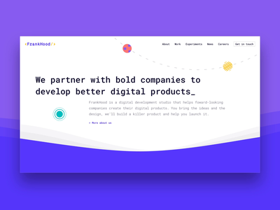 Frankhood | Homepage ux web design illustration coloful development brand design visual identity visualdesign visual uidesign ui webdesign branding