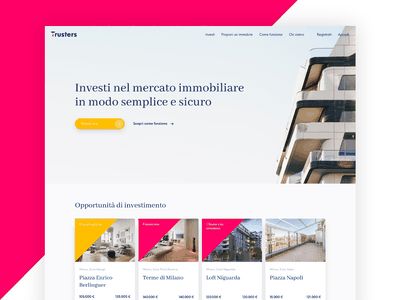 Trusters Homepage homepage coloful visual identity visual design brand design web design website ux design ui design logo real estate crowdfunding branding