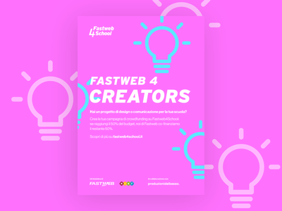 Fastweb 4 Creators poster logo visual design icon illustration visual identity design brand design crowdfunding branding