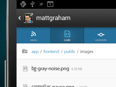 GitHub Tabbed Navigation github android tabs octicons code view