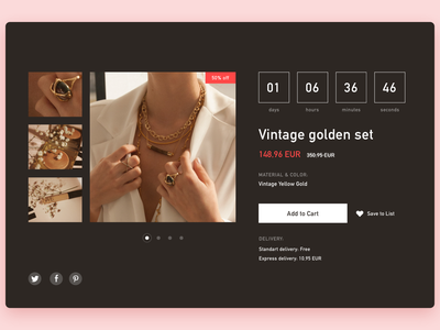 Daily UI Countdown Timer website sale timer shopping product page ecommerce add to cart clean ui design daily ui dailyui