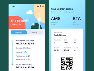 Daily UI Boarding Pass amsterdam qrcode flight app flight boarding pass boarding flat illustration ui daily ui ui design dailyui