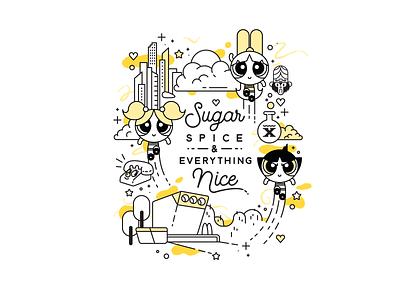 Sugar & Spice hotel cartoonnetwork cartoon illustration illustrator powerpuff girls powerpuff