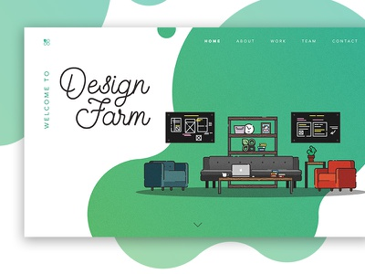 Design Farm Landing office flat illustration gradient landing design farm